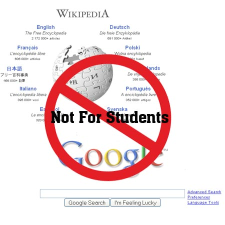 Students access google wikipedia